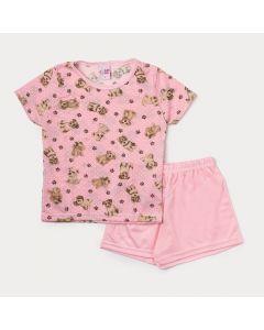 Pijama Infantil Feminino Rosa com Estampa de Cachorro