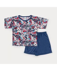 Pijama Infantil Masculino Azul com Estampa de Carro