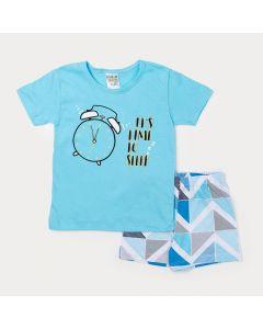 Pijama Infantil Masculino Camiseta Azul Estampada e Bermuda Azul