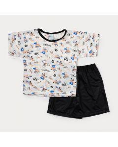 Pijama Infantil Masculino Preto com Estampa de Cachorro