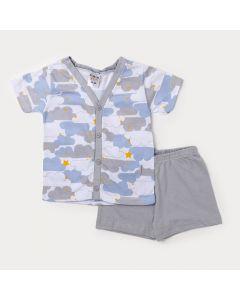 Pijama de Menino Camiseta Cinza de Botão e Bermuda cinza com Elástico