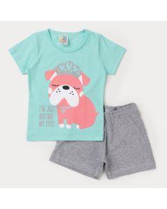 Pijama de Verão Infantil Menina Blusa Verde Cachorrinho e Short Cinza