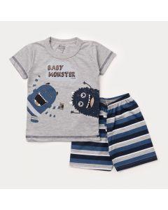 Pijama de Verão para Menino Blusa Cinza Monstrinhos e Short Listrado