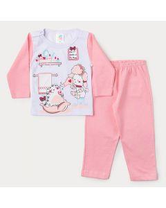 Pijama de Inverno para Bebê Menina Blusa Branca Estampada e Calça Rosa