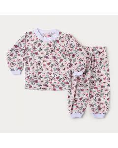 Pijama de Inverno para Bebê Menina Blusa Coração e Calça Estampada