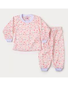 Pijama de Inverno Bebê Menina Blusa Rosa Coelho e Calça Estampada