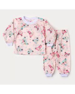 Pijama para Bebê Menina de Inverno Blusa Rosa Preguiça e Calça Estampada