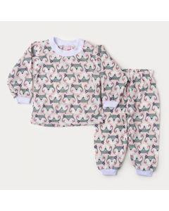 Pijama de Inverno para Bebê Menina Blusa Rosa Raposa Calça Estampada