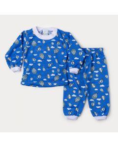 Pijama de Inverno Bebê Menino Blusa Azul Balão e Calça Estampada