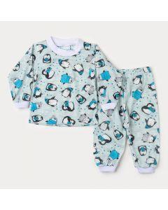 Pijama de Inverno Bebê Menino Blusa Azul Claro Pinguim Calça Estampada