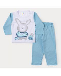Pijama de Inverno para Bebê Menino Blusa Branca Coelhinho e Calça Azul Claro