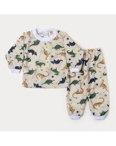 Pijama de Inverno Bebê Menino Blusa Marfim Dinossauro e Calça Estampada
