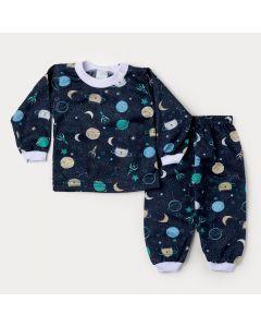 Pijama de Inverno Bebê Menino Blusa Marinho Foguete e Calça Estampada