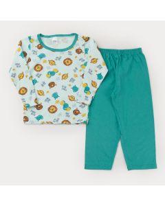 Pijama Unissex de Inverno Blusa Manga Longa Bichinhos e Calça Verde