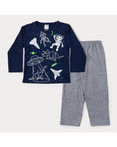 Pijama de Inverno Infantil Masculino Blusa Marinho Constelação e Calça Cinza