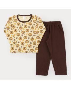 Pijama de Frio Infantil Masculino Blusa Manga Longa Leão e Calça Marrom