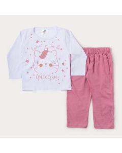 Pijama de Inverno Menina Blusa Branca Unicórnio e Calça Rosa