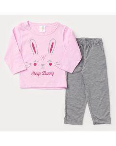Pijama de Inverno para Bebê Menina Blusa Rosa Coelhinho e Calça Cinza