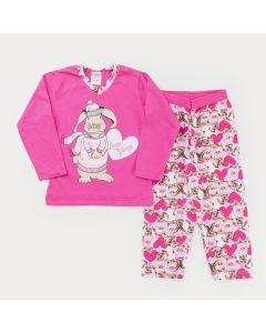 Pijama de Inverno para Menina Blusa Rosa Coelhinho e Calça