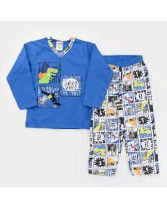 Pijama de Inverno para Menino Blusa Azul Dinossauro e Calça