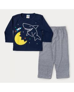 Pijama de Inverno para Menino Blusa Marinho Tubarão e Calça Cinza