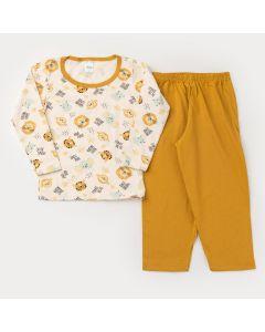 Pijama de Inverno Unissex Blusa Manga Longa Elefantinho e Calça Amarela