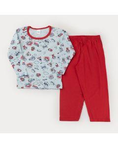 Pijama de Frio Unissex Blusa Manga Longa Foguete e Calça Vermelha