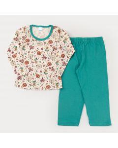 Pijama Unissex de Frio Blusa Manga Longa Circo e Calça Verde
