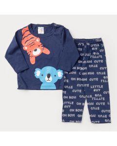 Pijama de Inverno Marinho para Bebê Menino Blusa Tigre e Calça Básica