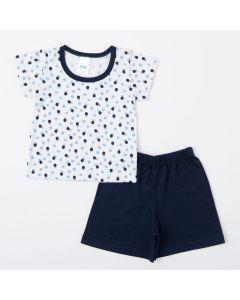 Pijama de Verão para Bebê Menino Blusa de Bolinhas e Short Marinho