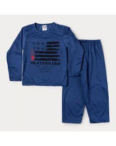 Pijama de Inverno Azul Marinho em Moletinho para Menino Estampado