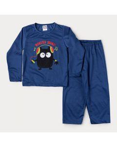 Pijama de Inverno Infantil Masculino em Moletinho Blusa Marinho Monstrinho e Calça