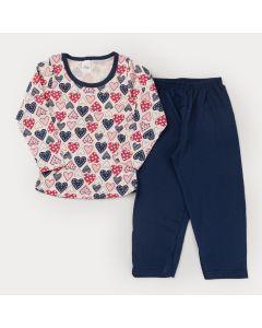 Pijama de Frio para Menina Blusa Manga Longa Coração e Calça Marinho