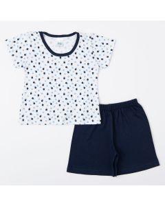 Pijama de Verão Marinho para Menino Blusa de Bolinha e Short