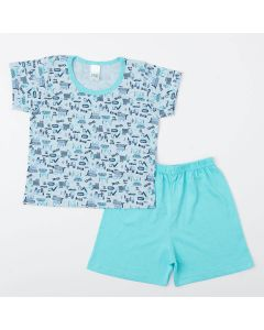 Pijama Infantil Masculino Blusa Trator e Short Azul