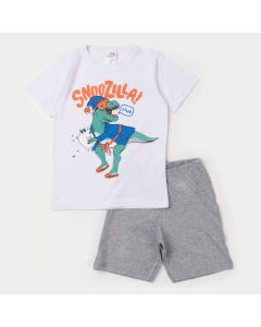 Pijama de Verão Infantil Masculino Blusa Branca Dinossauro e Bermuda Cinza