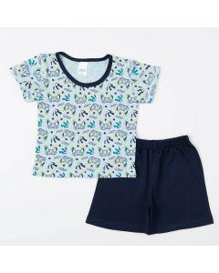 Pijama Marinho de Verão para Menino Blusa Game e Short Básico