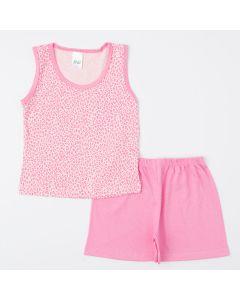 Pijama de Verão Rosa para Menina Blusa Oncinha e Short Básico