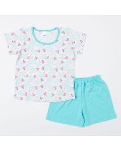Pijama Infantil Feminino Azul Blusa Ovelhinha e Short