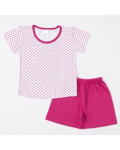 Pijama de Verão Pink para Menina Blusa Bolinha e Short Básico
