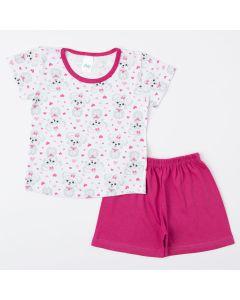 Pijama de Verão para Menina Short Pink e Blusa Branca Cachorrinho