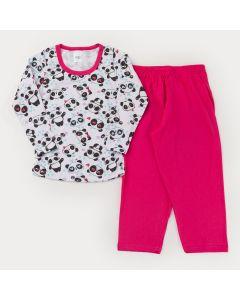 Pijama de Inverno para Menina Blusa Manga Longa Panda e Calça Pink