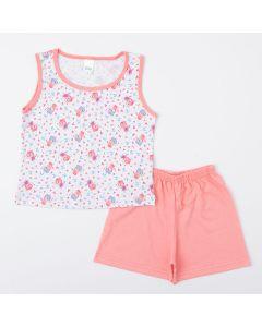 Pijama Infantil Feminino Salmão Blusa Fadinha e Short