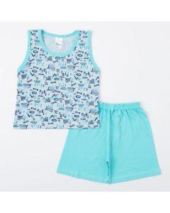 Pijama Verde para Menino Blusa Trator e Short de Verão