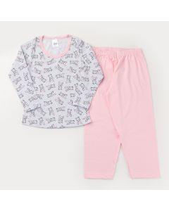 Pijama de Inverno para Menina Blusa Manga Longa Cachorrinho e Calça Rosa