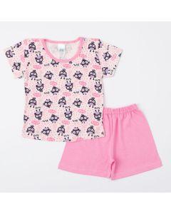 Pijama Rosa para Menina Blusa Corujinha e Short Básico