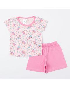 Pijama Rosa para Bebê Menina Blusa Fadinha e Short Básico