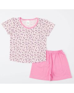 Pijama Rosa de Verão para Menina Blusa Florzinha e Short Básico