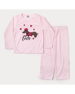 Pijama de Inverno Infantil Feminino em Moletinho Blusa Rosa Cachorrinho e Calça