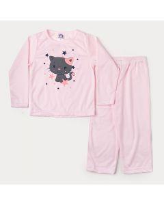 Pijama de Inverno para Menina em Moletinho Blusa Rosa Gatinho e Calça